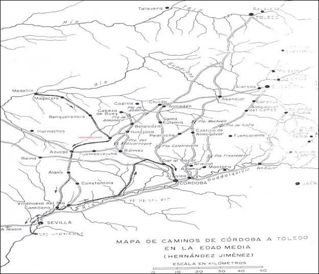 Mapa de caminos de Córdoba a Toledo en la Edad Media