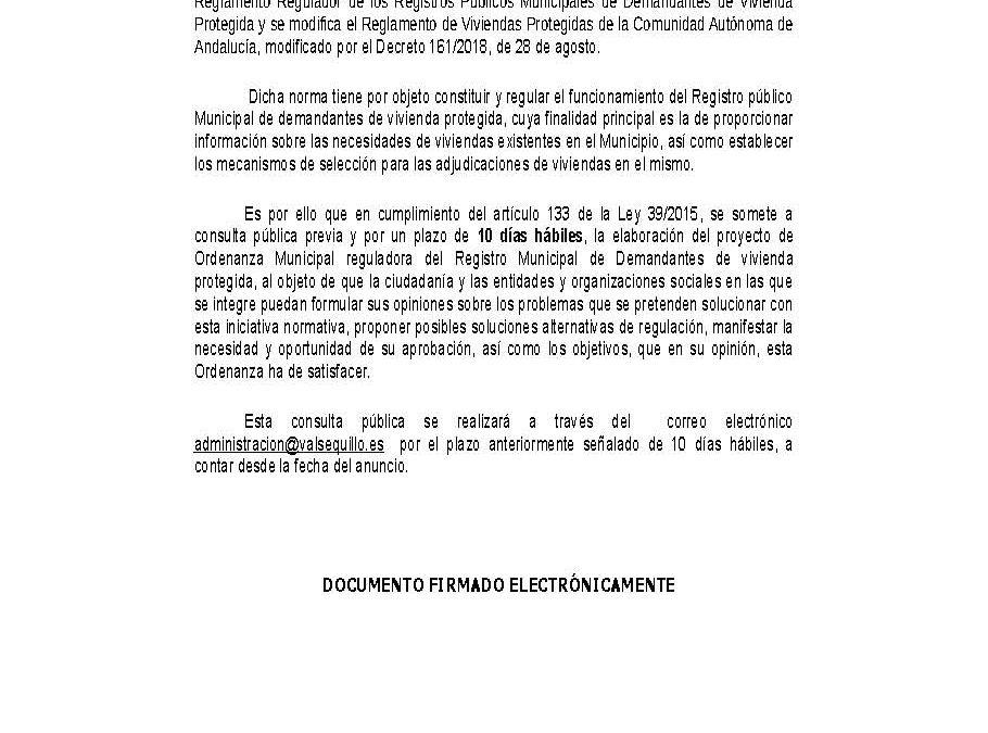 ORDENANZA REGULADORA DEL REGISTRO DE DEMANDANTES DE VIVIENDA PROTEGIDA