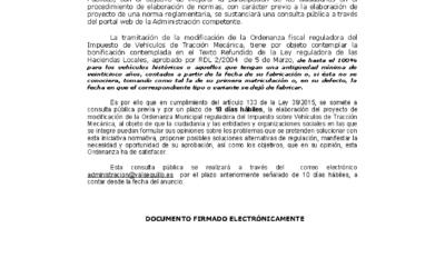 CONSULTA PÚBLICA MODIFICACIÓN ORDENANZA FISCAL IVTM