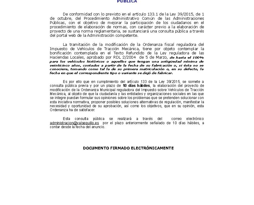 CONSULTA PÚBLICA MODIFICACIÓN ORDENANZA FISCAL IVTM 1