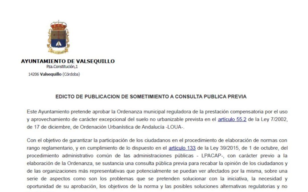 APROBACION ORDENANZA MUNICIPAL REGULADORA DE LA PRESTACION COMPENSATORIA EN SUELO NO URBANIZABLE